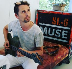 Matthew Bellamy avec sa Manson DR-1 en studio à Los Angeles